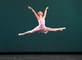 IMAGE Allison Miller performs a gravity-defying leap in Balanchine's Ballo della Regina. Photo by Amitava Sarkar. IMAGE