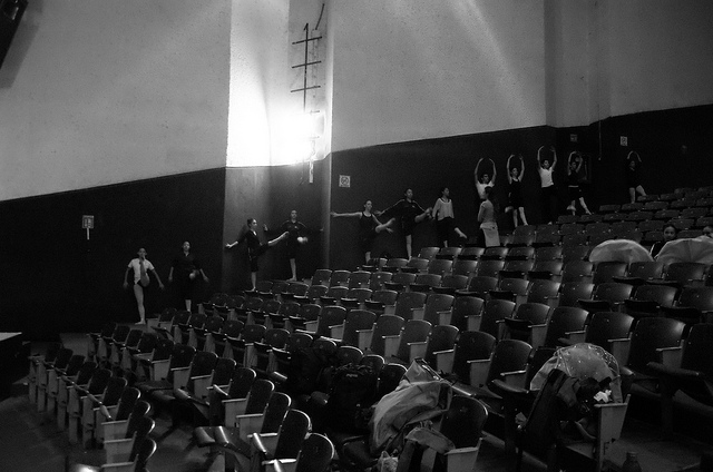 Dancers in theater house