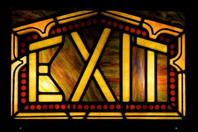 Stained glass exit sign