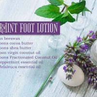 Ingredients: 1 teaspoon beeswax 2 tablespoons cocoa butter 4 tablespoons shea butter 1 tablespoon virgin coconut oil 2 tablespoons Fractionated Coconut Oil 5 drops Peppermint essential oil 5 drops Melaleuca essential oil