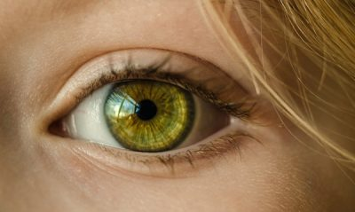 The green eye of a woman