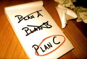 Picture of a list: Plan A is crossed out, Plan B is crossed out. Plan C is circled in red.