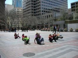 "IMAGE A flocking dance piece called ""Seeds of Compassion"" performed in Seattle. IMAGE"