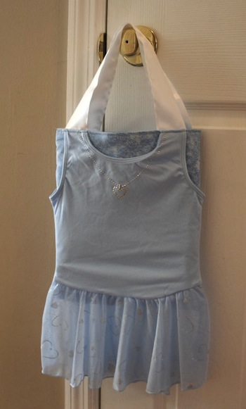 IMAGE Leotard with skirt recycled for a new dance tote bag IMAGE