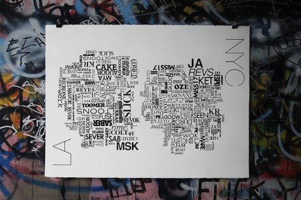 IMAGE Artwork that juxtaposes two groups of graffiti artists from Los Angeles and New York City. IMAGE IMAGE