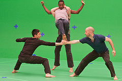 IMAGE Dancers shoot in front of a green screen for the film Lost Action: Trace. IMAGE