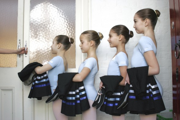 Young ballet students wait to take their exams