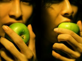 A composite image of a woman eating a green apple.