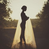 Silhouette of a dancer in a forest setting.