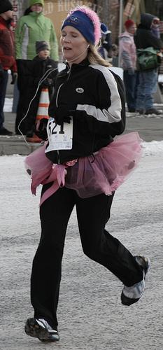 Runner in a pink tutu
