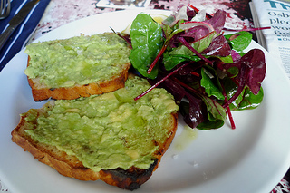 Avocado on toast with salad greens on the side. [photo by Ewan Munro]