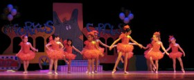 Young ballerinas performing in a dance recital