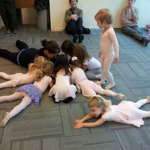 Preschool dancers head to head with their teacher