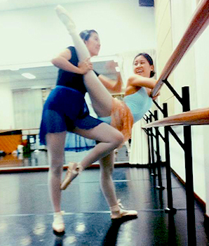 Min being stretched in ballet class