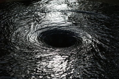 black and white photo of a whirlpool
