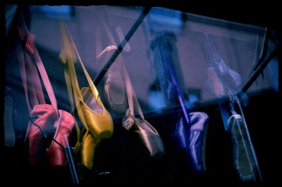 Ballet Pointe Shoes in a Shop Window, NYC