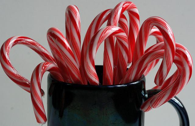 Candy canes in a coffee mug
