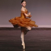 A ballet dancer performs a pirouette