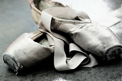 worn pointe shoes