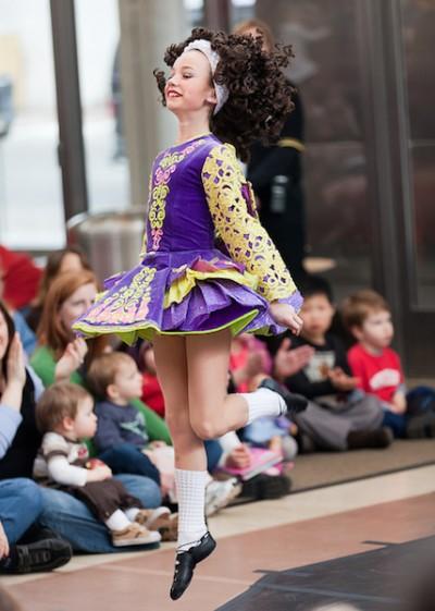 Young Irish dancer jumping