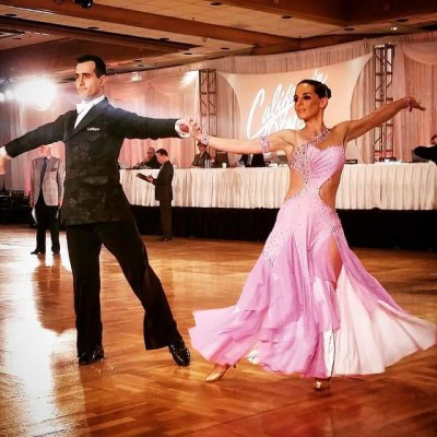 Ballroom dancers create space between
