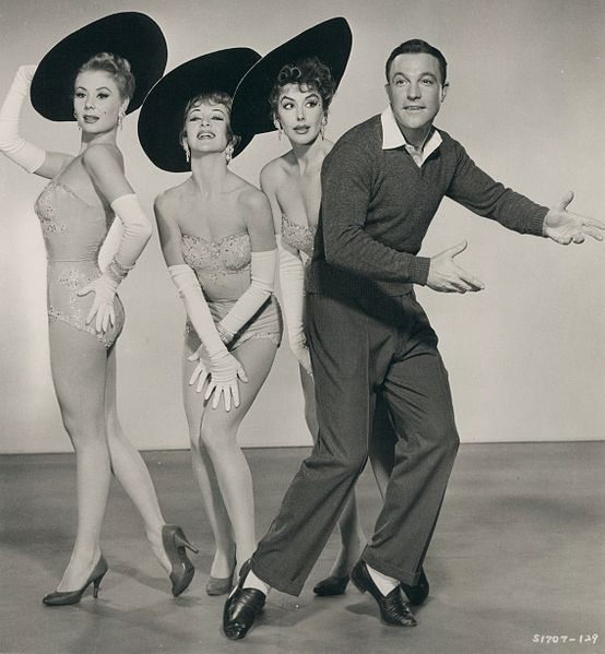 Mitzi Gaynor, Taina Elg, Kay Kendall & Gene Kelly in Les Girls - publicity still (cropped)