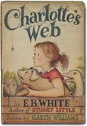 This is the front cover art for the book Charlotte's Web written by E. B. White. The book cover art copyright is believed to belong to the publisher, HarperCollins, or the cover artist.