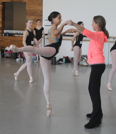 Houston Ballet II Ballet Mistress, Sabrina Lenzi instructing Divya during the 2015 Houston Ballet Summer Intensive Program. Photo: Jamie Lagdameo | Image provided courtesy of Houston Ballet