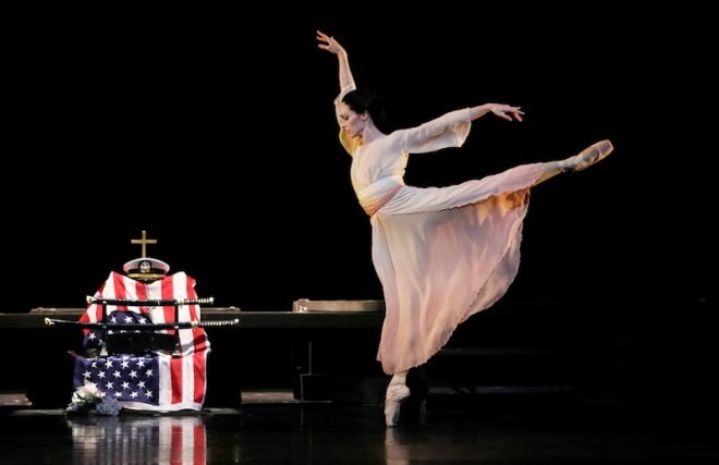 Sara Webb as Cio-Cio San in Stanton Welch's Madame Butterfly, photo by Amitav Sardar courtesy of Houston Ballet.