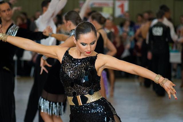 Latin dancer in black sequins