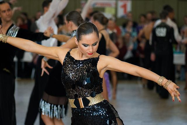 Latin dancer in black sequins
